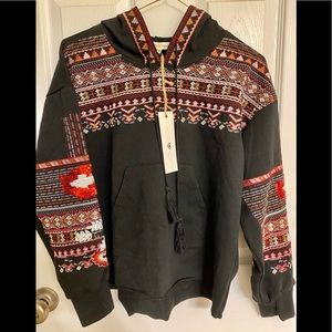 Woven Heart Embellished Aztec Pullover NWT